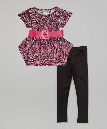 Pink Zigzag Belted Top & Black Leggings - Girls