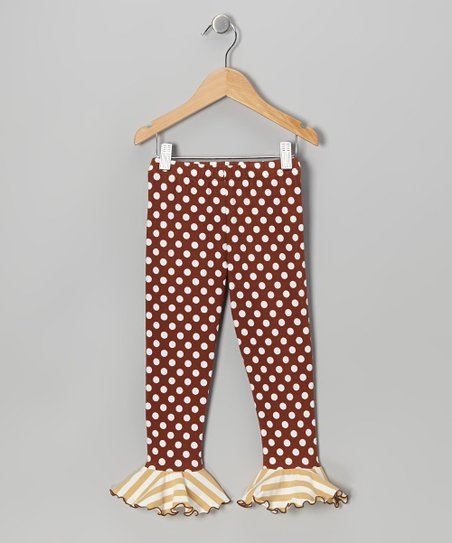 Brown Polka Dot Flounce Leggings - Toddler & Girls