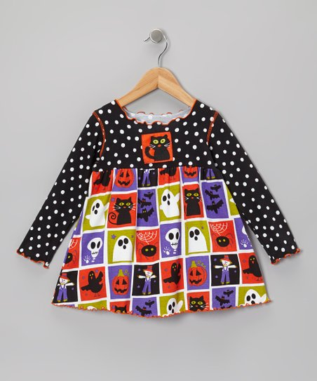 Black & Orange Halloween Squares Swing Top - Toddler & Girls