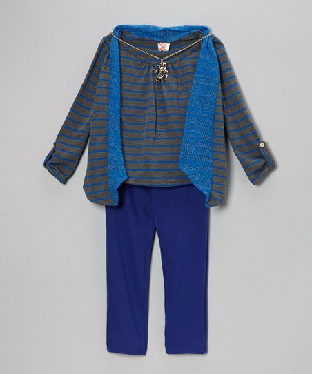 Royal Blue Stripe Layered Top & Pants - Girls