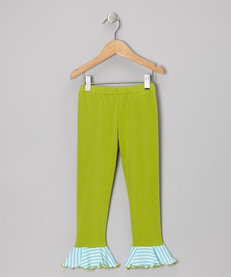 Tea Green & Aqua Stripe Flounce Leggings - Toddler & Girls