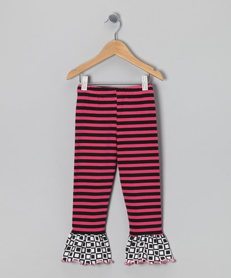 Black & Pink Stripe Flounce Leggings - Infant, Toddler & Girls