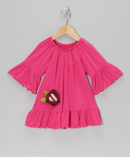 Fuchsia & Brown Flower Tunic - Toddler & Girls