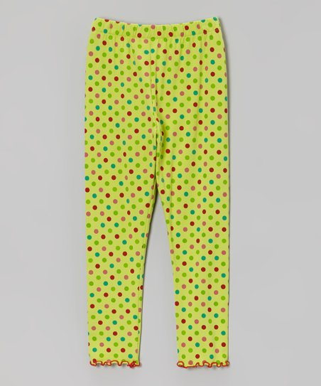 Light Green Polka Dot Leggings - Infant, Toddler & Girls