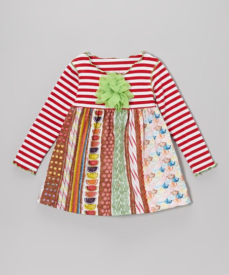 Red Gingerbread Stripe Lettuce Swing Top - Toddler & Girls