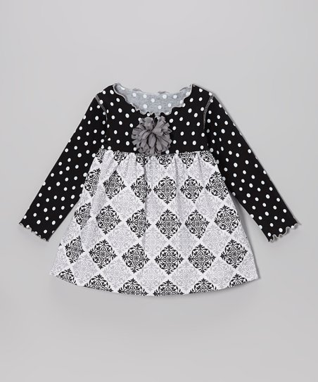 Black & Gray Medallion Lettuce Swing Top - Toddler & Girls