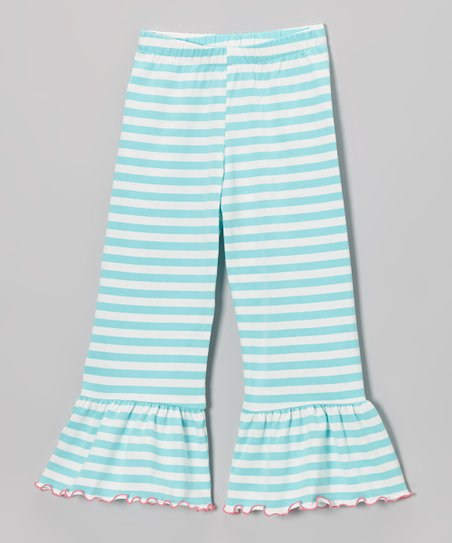 Aqua & Cream Stripe Ruffle Pants - Toddler & Girls