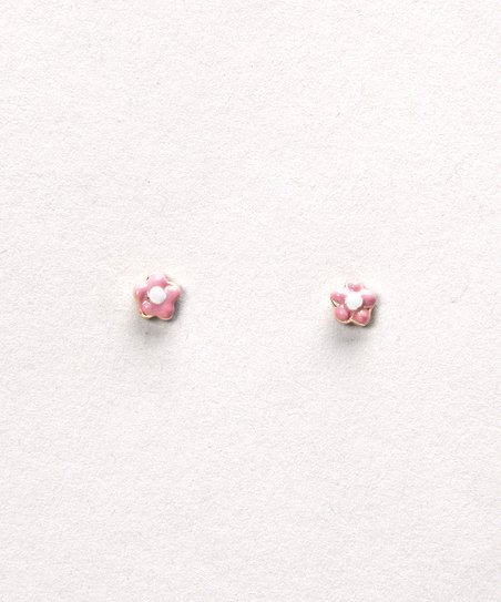 Pink & White Flower Post Earrings