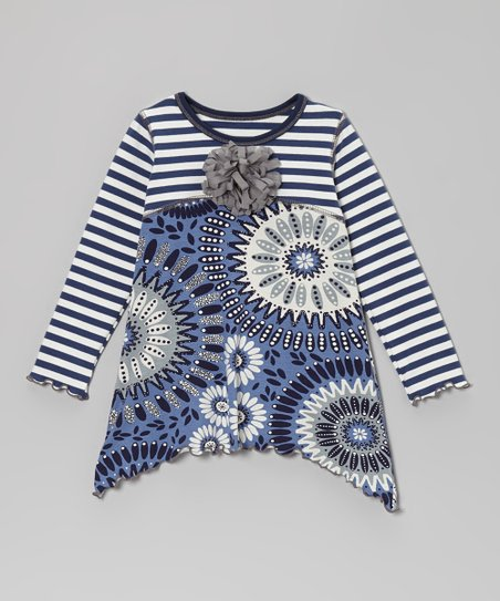 Navy & Gray Abstract Flower Tunic - Toddler & Girls