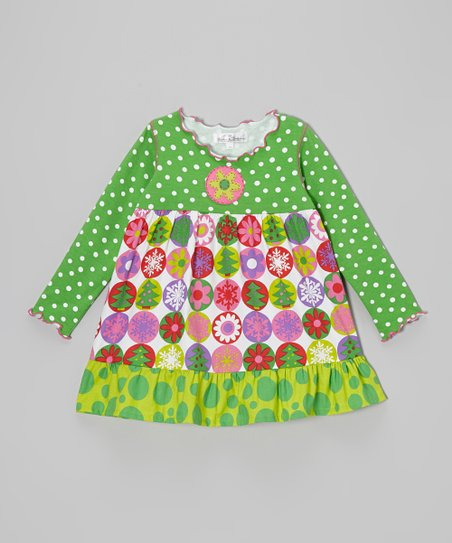 Green Christmas Ruffle Swing Top - Infant, Toddler & Girls