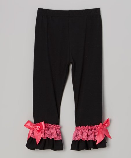 Black & Pink Lace Ruffle Pants - Infant, Toddler & Girls