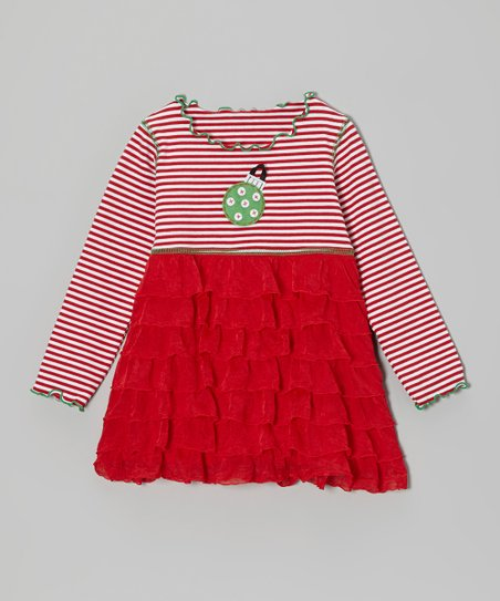 Red Stripe Ornament Ruffle Tunic - Infant, Toddler & Girls