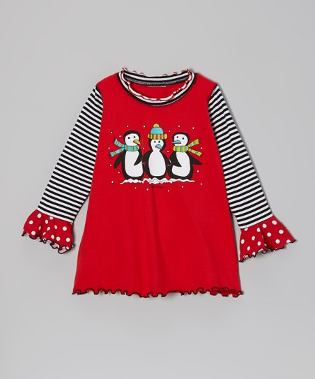 Red Penguin Swing Top - Infant, Toddler & Girls