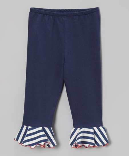 Navy Stripe Ruffle Capri Pants - Toddler & Girls