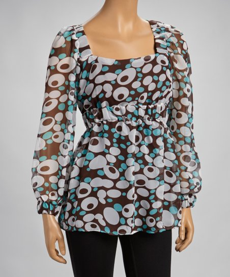 Blue & Brown Bubble Sheer Empire-Waist Top