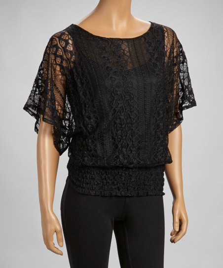 Black Lace Shirred Cape-Sleeve Top