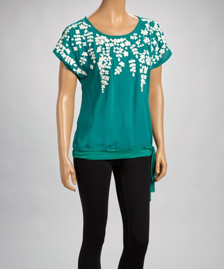 Emerald Embroidered Scoop Neck Top