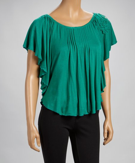 Emerald Crocheted Cape-Sleeve Top