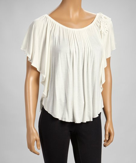 Ivory Crocheted Cape-Sleeve Top