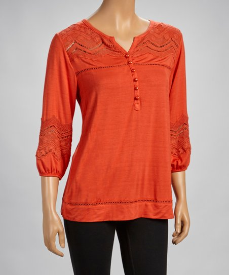Orange Crocheted Tunic