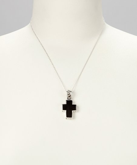 Onyx & Sterling Silver Cross Pendant Necklace