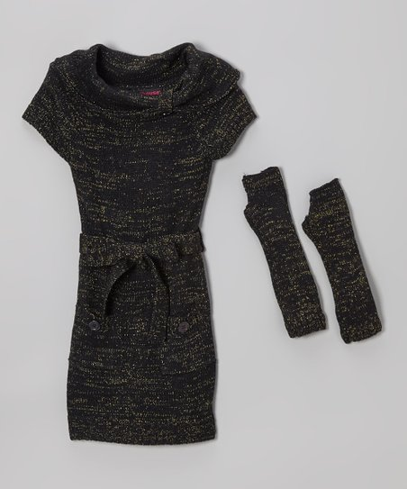 Black & Gold Sparkle Belted Sweater Dress & Arm Warmers - Girls