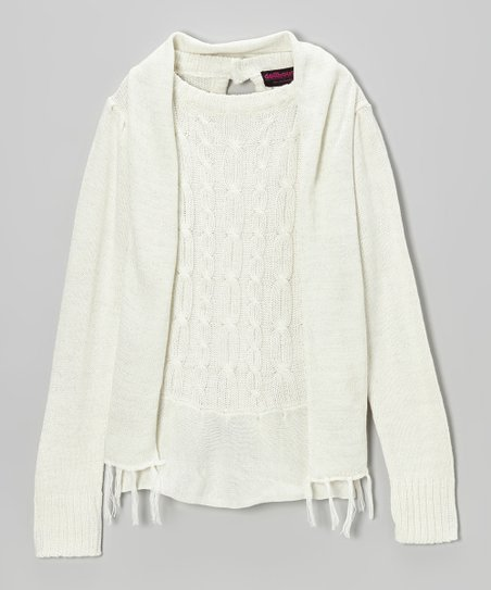 White Sparkle Cable-Knit Sweater & Scarf - Girls