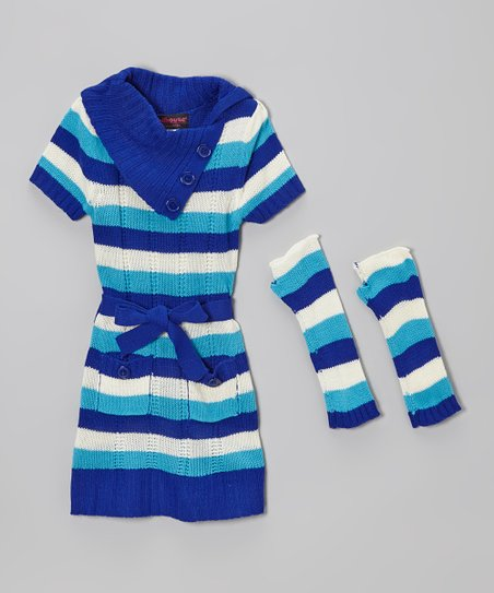 Blue Stripe Dress & Arm Warmers - Infant & Toddler
