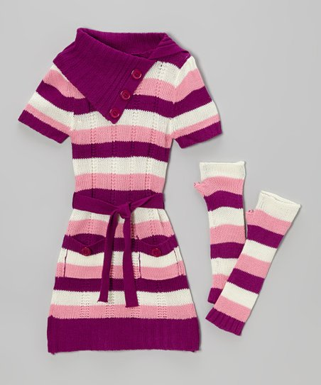 Pink Stripe Dress & Arm Warmers - Infant & Toddler