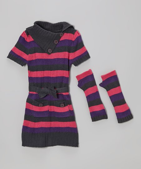Gray Stripe Dress & Arm Warmers - Infant & Toddler