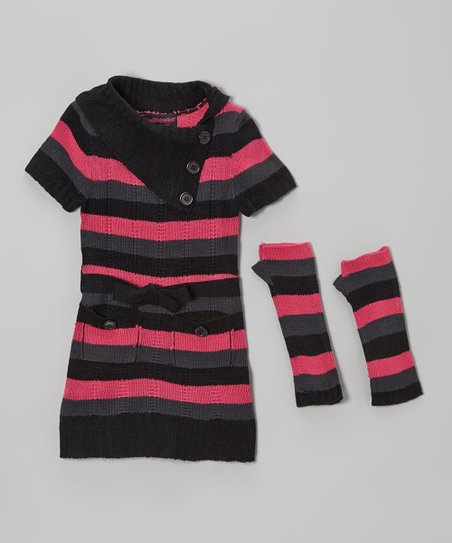 Black Stripe Dress & Arm Warmers - Infant & Toddler
