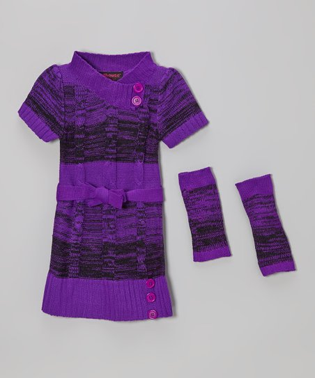 Purple Cable-Knit Sweater Dress & Arm Warmers - Girls