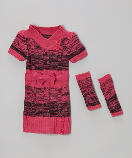 Pink Cable-Knit Sweater Dress & Arm Warmers - Girls