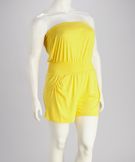 Yellow Plus-Size Romper