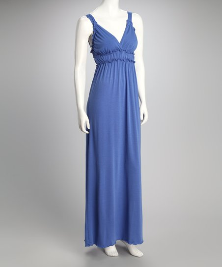 Royal Blue V-Neck Maxi Dress