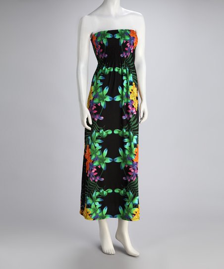 Black & Green Floral Tiger Lily Shirred Maxi Dress