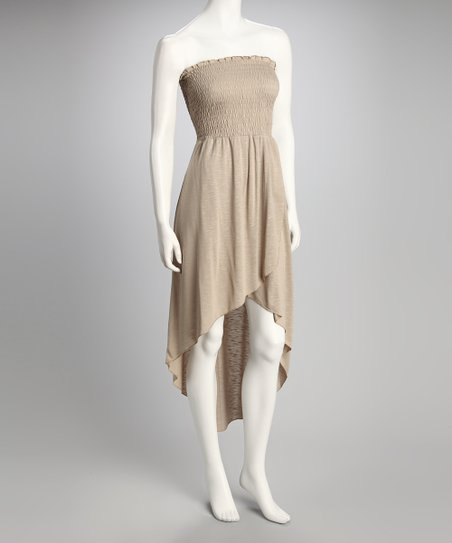 Khaki Shirred Strapless Dress