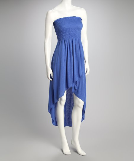 Royal Blue Shirred Strapless Dress