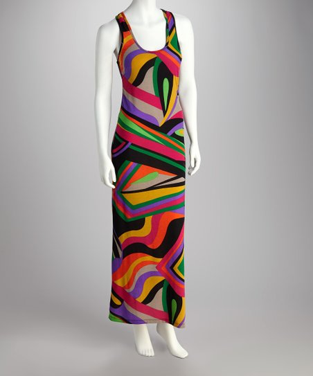Lavender & Fuchsia Abstract Racerback Dress