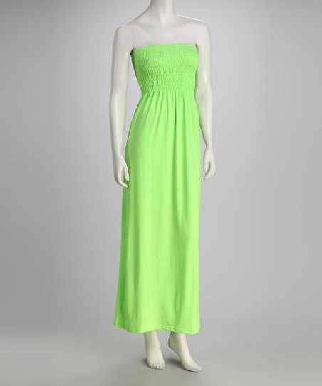 Lime Strapless Maxi Dress
