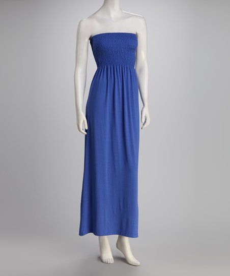 Royal Blue Strapless Maxi Dress