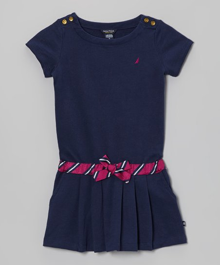 Naval Blue French Terry Dress - Girls