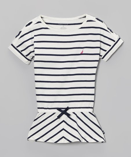 White & Blue Stripe Tee - Girls