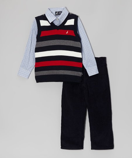 Black & Red Stripe Sweater Vest Set - Toddler & Boys