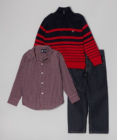 Red & Black Pullover Set - Toddler & Boys