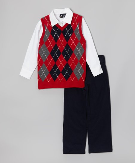 Cherry Argyle Sweater Vest Set - Toddler & Boys