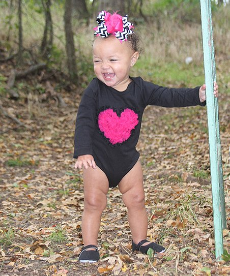 Black & Hot Pink Ruffle Heart Bodysuit - Infant