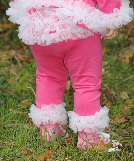Hot Pink & White Ruffle Pants - Toddler
