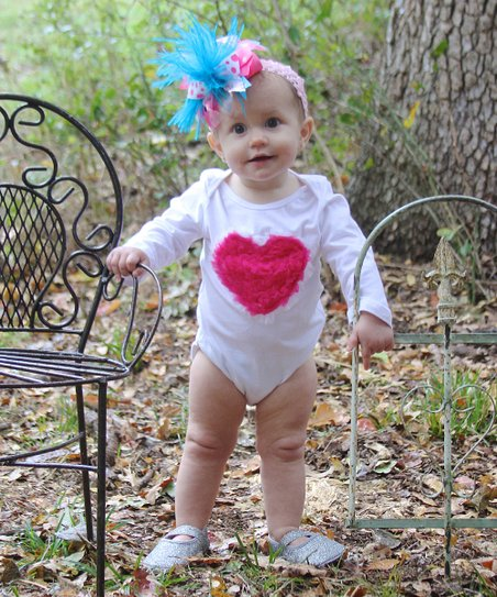 White & Hot Pink Ruffle Heart Bodysuit - Infant