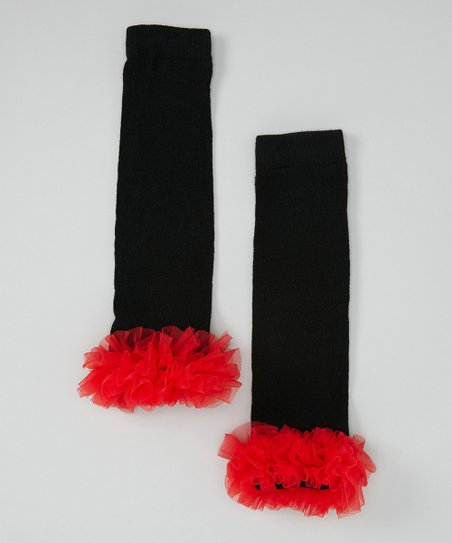 Black & Red Ruffle Leg Warmers